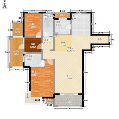 富立秦皇半岛3室1厅2卫1厨142.00㎡户型图
