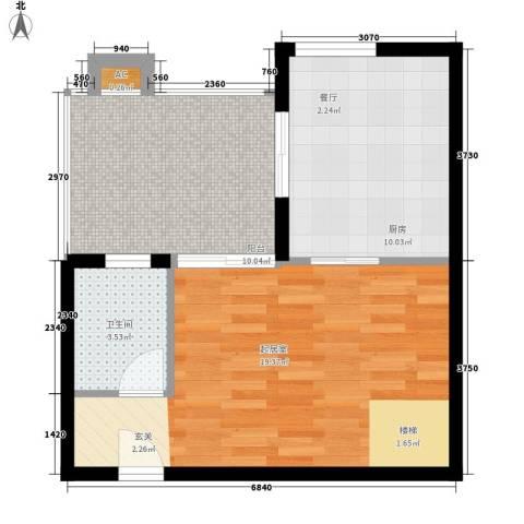 玛雅上层1卫1厨61.00㎡户型图
