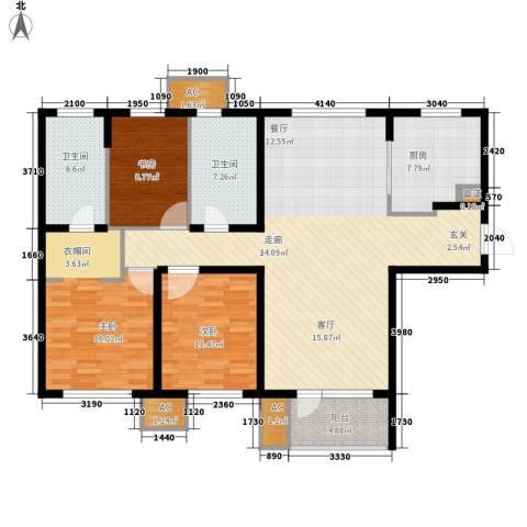 「大连天地」悦龙居3室1厅2卫1厨127.00㎡户型图