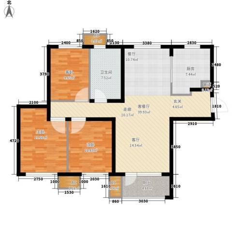 「大连天地」悦龙居3室1厅1卫1厨110.00㎡户型图