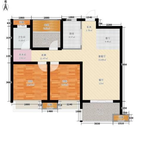 文一名门首府2室1厅1卫1厨88.00㎡户型图