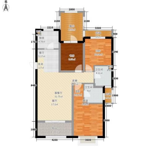 富立秦皇半岛3室1厅2卫1厨125.00㎡户型图