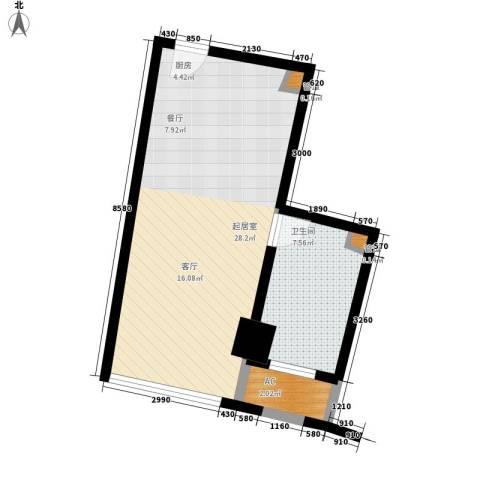 中宇国际中心1卫0厨44.00㎡户型图
