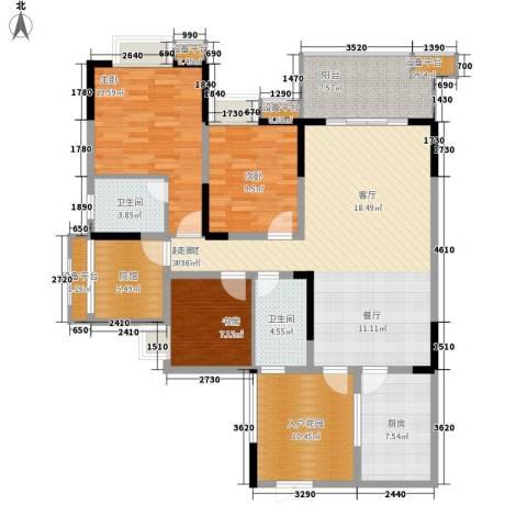 三江希望城3室0厅2卫1厨123.00㎡户型图