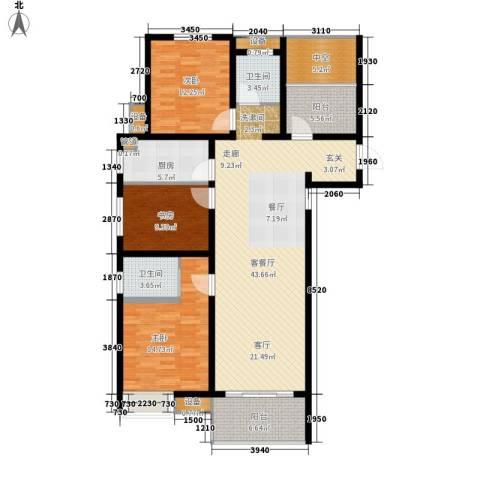 文一名门首府3室1厅2卫1厨129.00㎡户型图