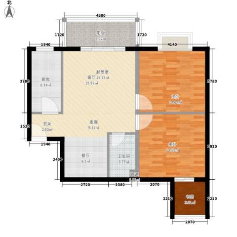 西瑞北国之春3室0厅1卫1厨89.00㎡户型图