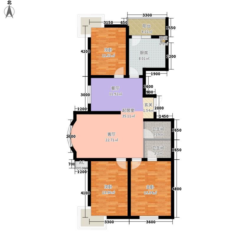在水一方户型图3室2厅2卫