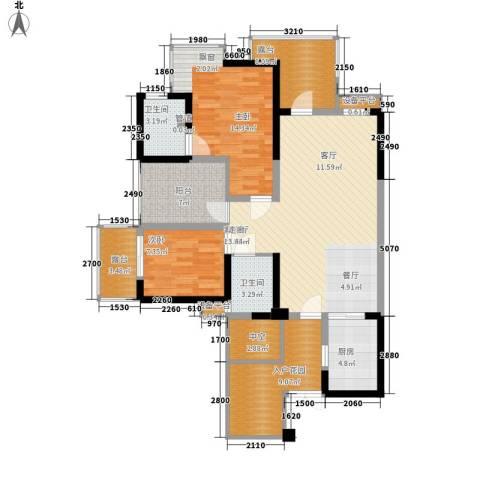 城市春天2室1厅2卫1厨97.00㎡户型图