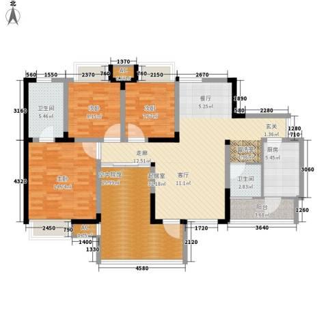 森望滟澜湖3室0厅2卫1厨117.00㎡户型图