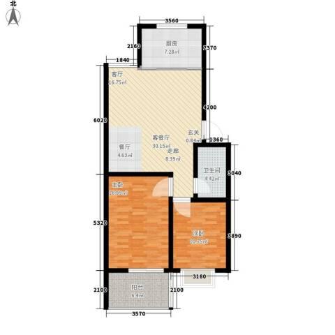 仲宫山水庭院2室1厅1卫1厨86.00㎡户型图