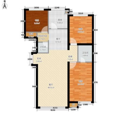 大爱国际3室1厅2卫1厨122.00㎡户型图