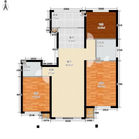 大爱国际3室1厅2卫1厨166.00㎡户型图