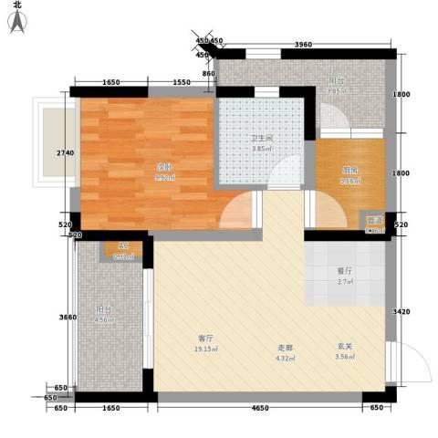 亚热带雅居1室1厅1卫1厨45.00㎡户型图