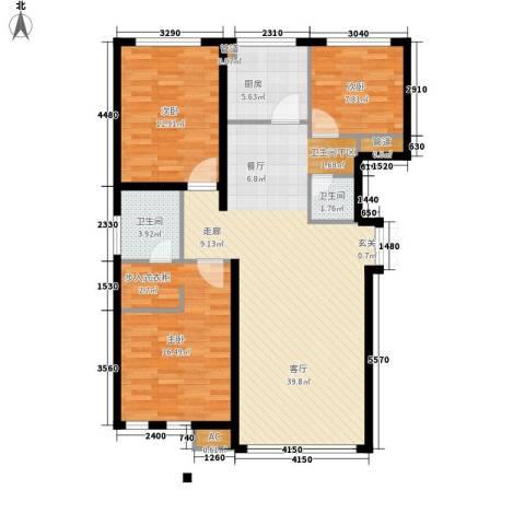 大爱国际3室1厅2卫1厨132.00㎡户型图