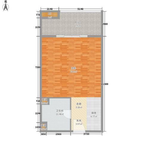 银河科技公寓1室0厅1卫0厨104.00㎡户型图