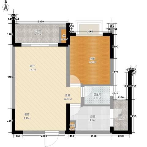 亚热带雅居1室0厅1卫1厨45.41㎡户型图