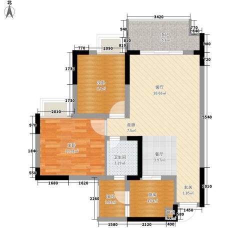 亚热带雅居2室1厅1卫1厨62.39㎡户型图