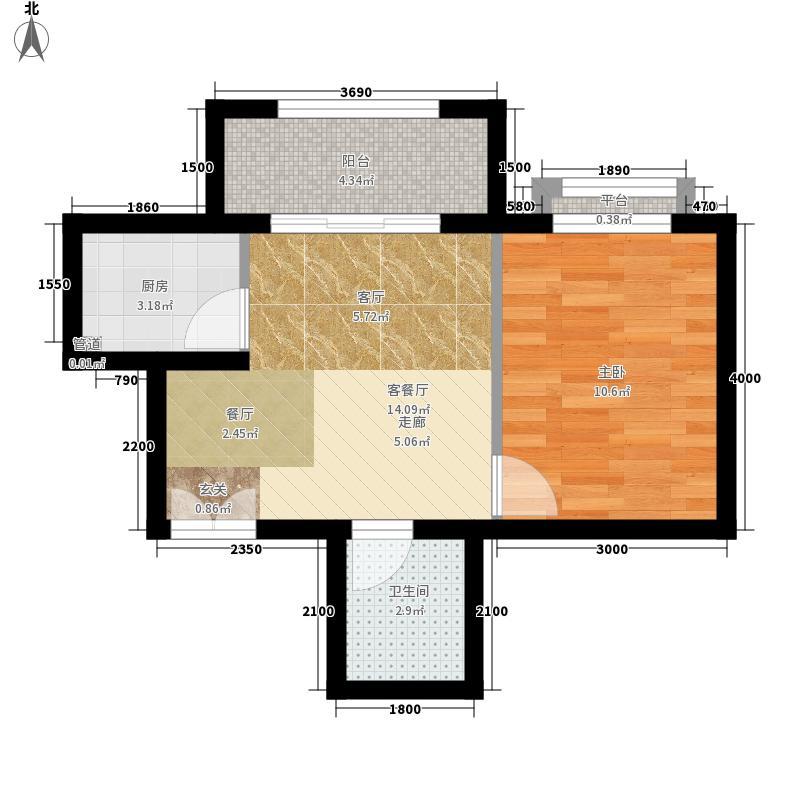 南山花园户型图福星阁A2户型 1室1厅1卫
