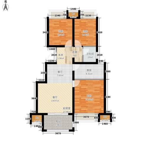 荣盛馨河郦舍3室0厅1卫1厨89.00㎡户型图