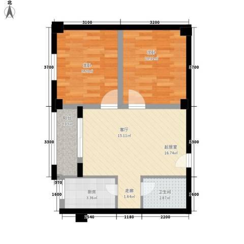 康文苑2室0厅1卫1厨67.00㎡户型图