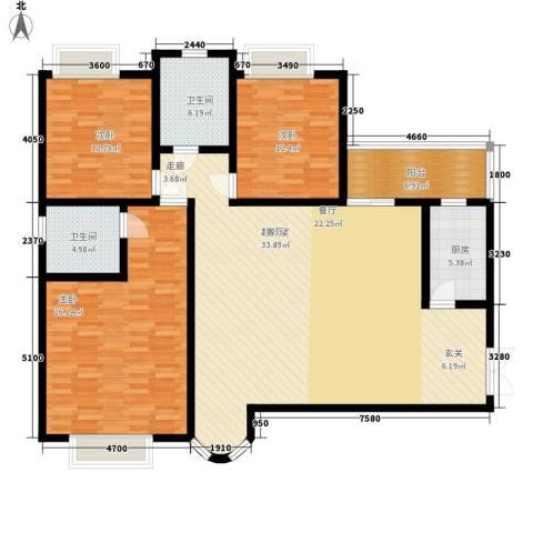 濠兴逸苑3室0厅2卫1厨148.00㎡户型图
