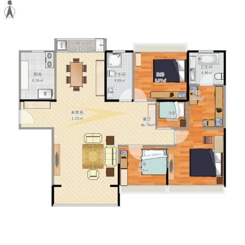 斜土路1212弄公房4室1厅2卫1厨138.00㎡户型图