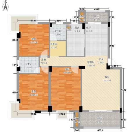 金嘉名筑3室1厅2卫1厨119.00㎡户型图