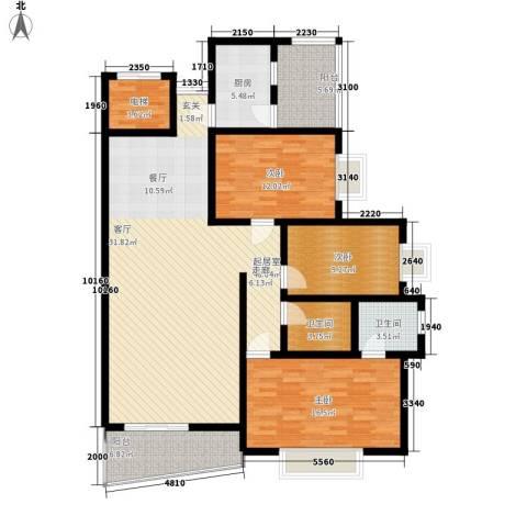 濠兴逸苑3室0厅2卫1厨132.00㎡户型图