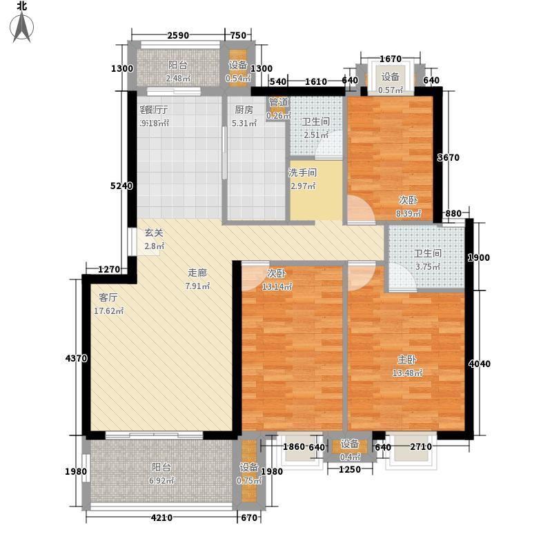 金嘉名筑110.00㎡二期C区多层C户型3室2厅2卫1厨