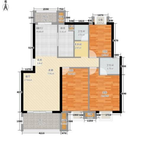 金嘉名筑3室1厅2卫1厨110.00㎡户型图