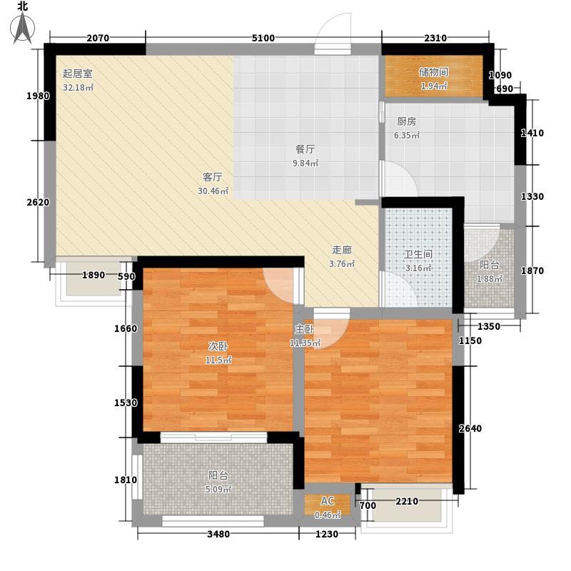 翰林壹品83.80㎡一期6、7号楼标准层B1户型