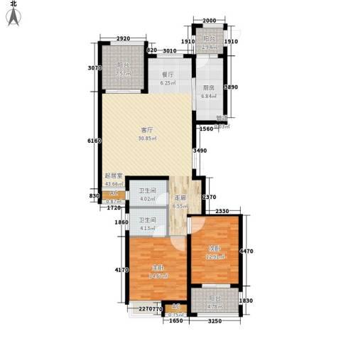 荣盛馨河郦舍2室0厅2卫1厨118.00㎡户型图