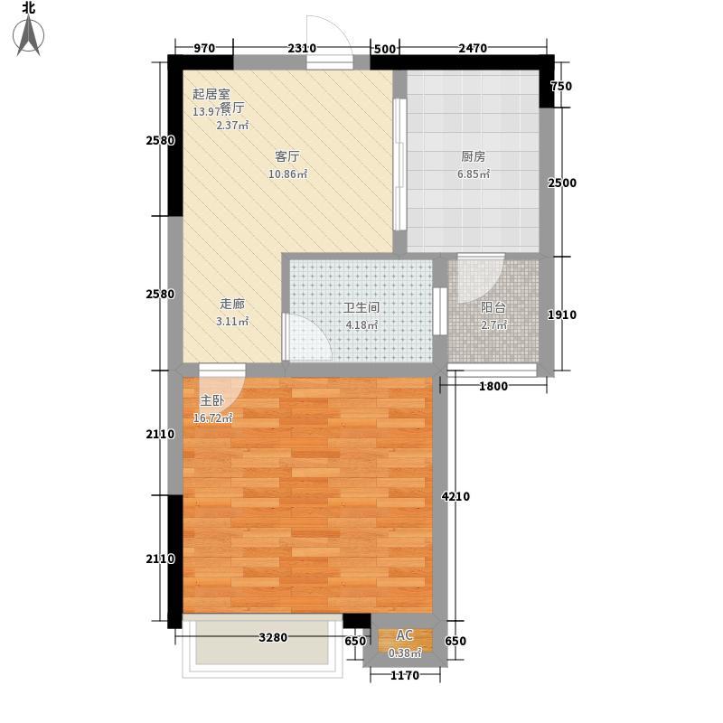 翰林壹品51.40㎡一期5号楼标准层B3户型