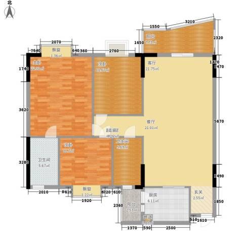 濠兴逸苑3室0厅2卫1厨130.00㎡户型图