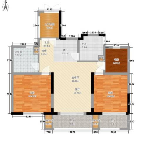 日月明园3室1厅1卫1厨105.00㎡户型图