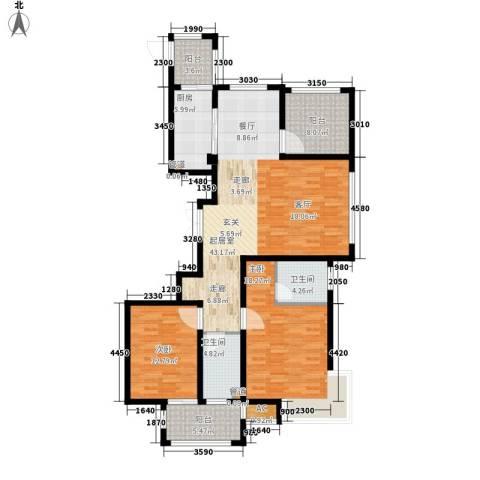 荣盛馨河郦舍2室0厅2卫1厨124.00㎡户型图