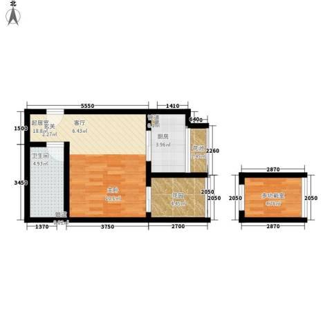 伞塔路丹尼尔小区1卫1厨46.00㎡户型图