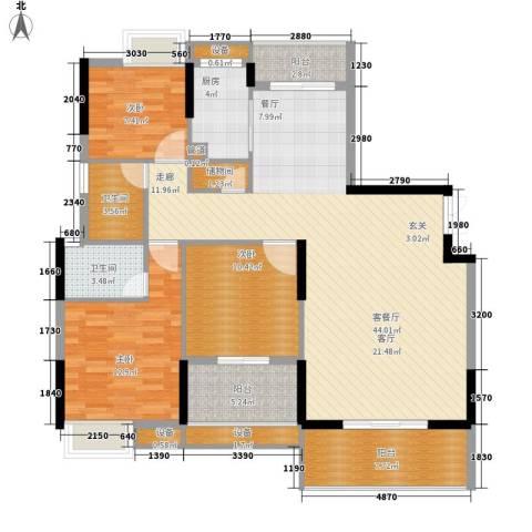 联泰香域中央3室1厅2卫1厨128.00㎡户型图