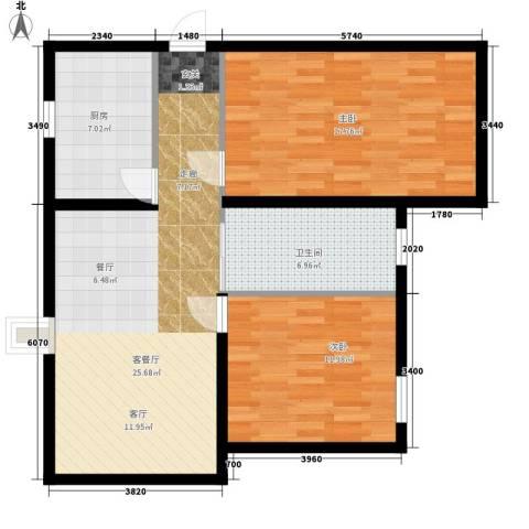 水岸丽景2室1厅1卫1厨97.00㎡户型图