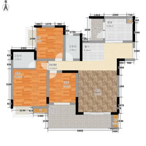 金科绿韵康城3室0厅2卫1厨94.00㎡户型图
