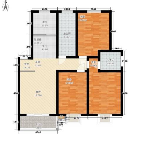 兰荷苑星河湾3室0厅2卫1厨140.00㎡户型图