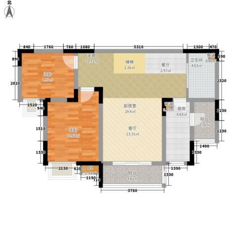 金科绿韵康城2室0厅1卫1厨78.00㎡户型图