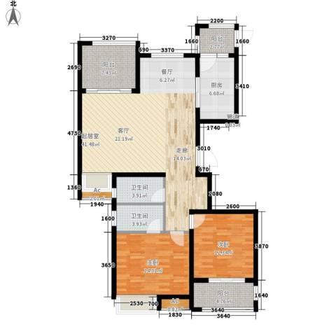 荣盛馨河郦舍2室0厅2卫1厨115.00㎡户型图