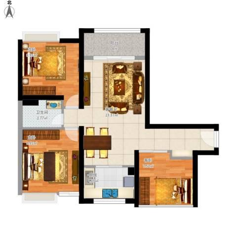 新世纪颐龙湾二期3室1厅1卫1厨88.00㎡户型图