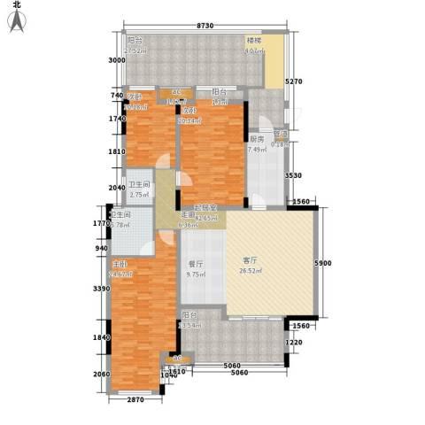 泽科港城国际锦云香缇3室0厅2卫1厨156.66㎡户型图
