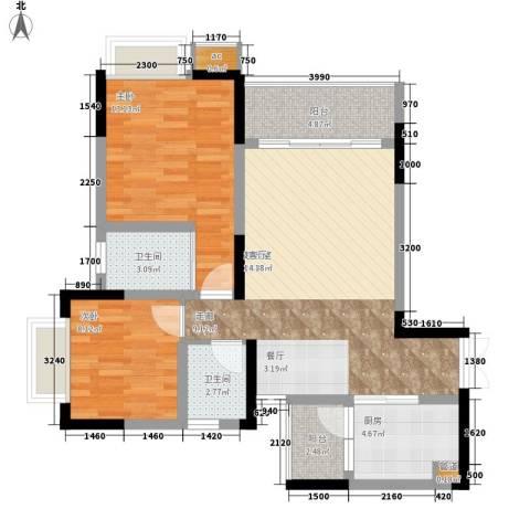 金科绿韵康城2室0厅2卫1厨97.00㎡户型图