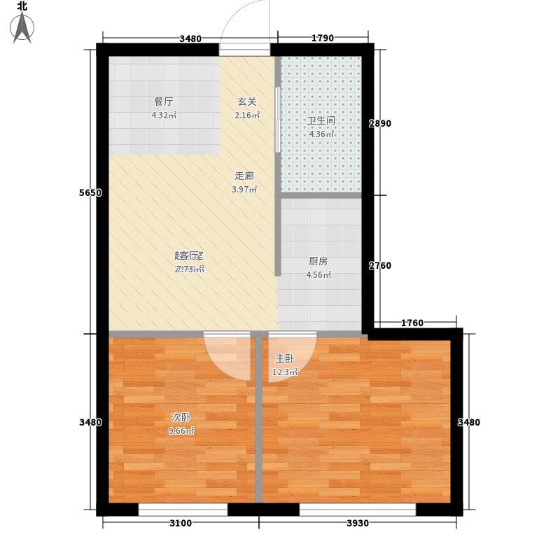 新青年印象54.30㎡新青年印象户型图1号楼E户型2室2厅1卫1厨户型2室2厅1卫1厨