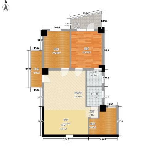 南峰玫瑰园2室0厅2卫1厨85.00㎡户型图
