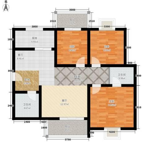 颐和郡3室1厅2卫1厨126.00㎡户型图