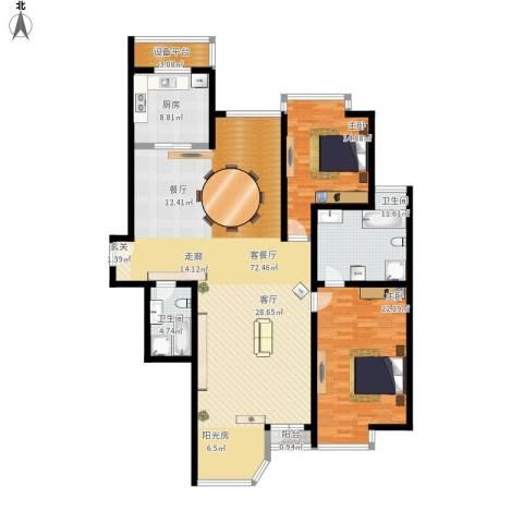 合生・滨江帝景2室1厅2卫1厨194.00㎡户型图